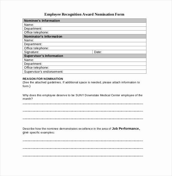 Employee Recognition Nomination form Template Awesome Employee Recognition Awards Template 9 Free Word Pdf