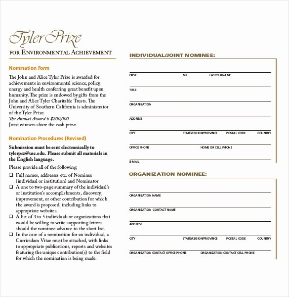 Employee Recognition Nomination form Template Best Of Employee Award Nomination form Template to Pin On