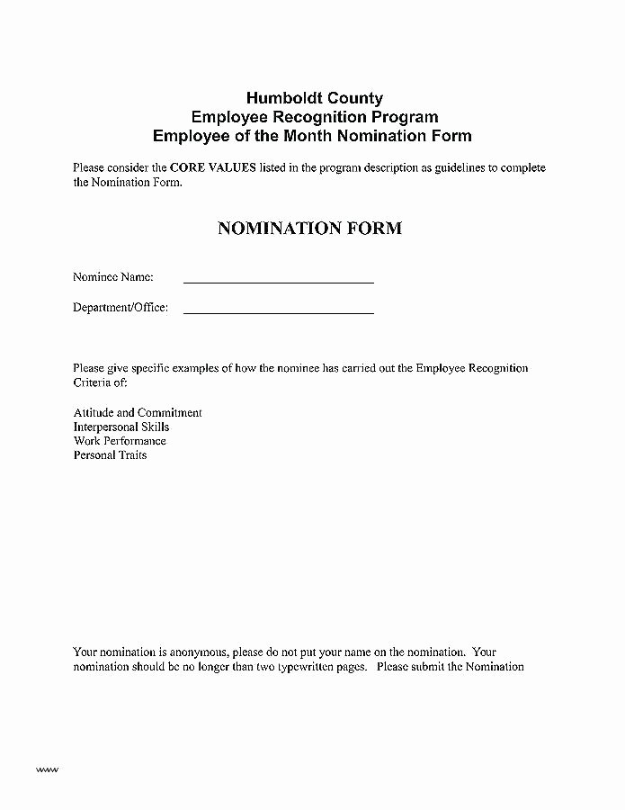 Employee Recognition Nomination form Template Best Of Employee Recognition Plan Template Employee Recognition