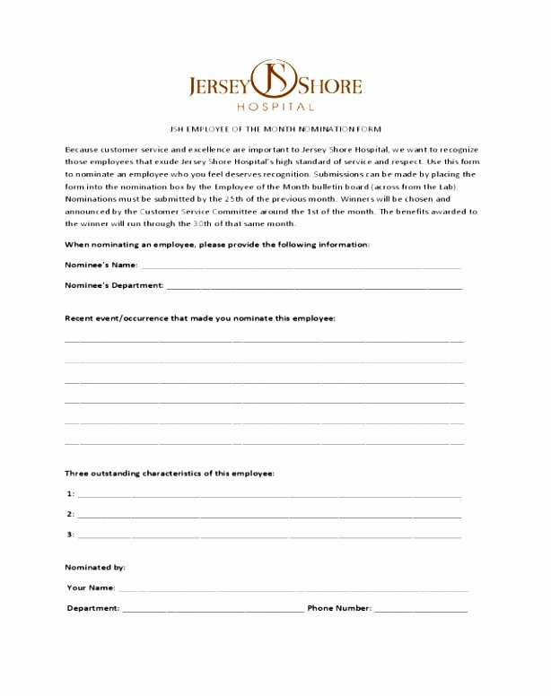 Employee Recognition Nomination form Template Elegant 7 Employee Recognition Nomination form Template Rulut