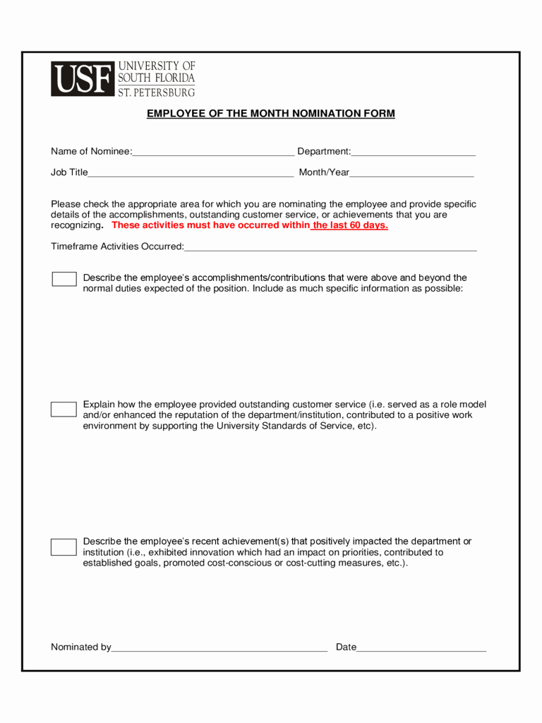 Employee Recognition Nomination form Template Elegant Employee Employee the Month Nomination form