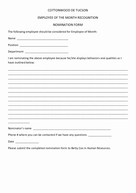 Employee Recognition Nomination form Template Inspirational Employee the Month Recognition Nomination form
