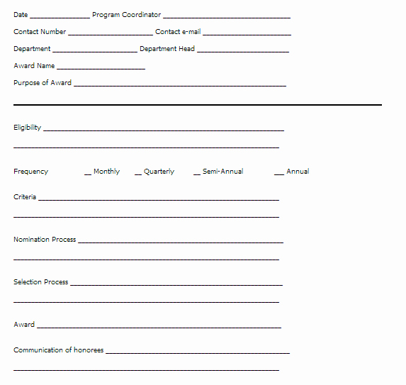 Employee Recognition Nomination form Template Luxury Sample Employee Recognition Programs