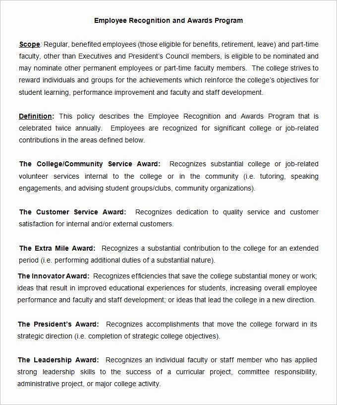 Employee Recognition Program Template Best Of 53 Hr Policy Templates Hr Templates