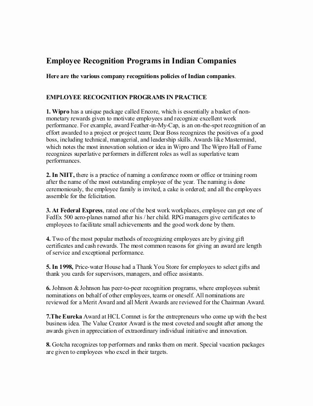 Employee Recognition Program Template Unique Employee Recognition Programs In Indian Panies