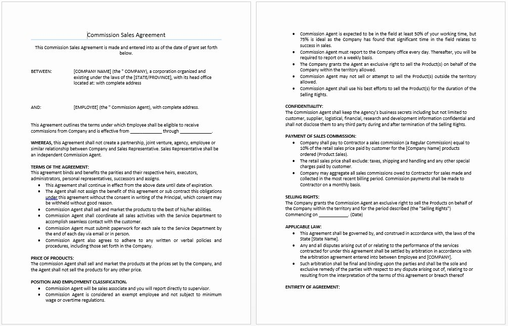 Employee Sales Commission Agreement Template Awesome Employee Sales Mission Agreement Template Templates