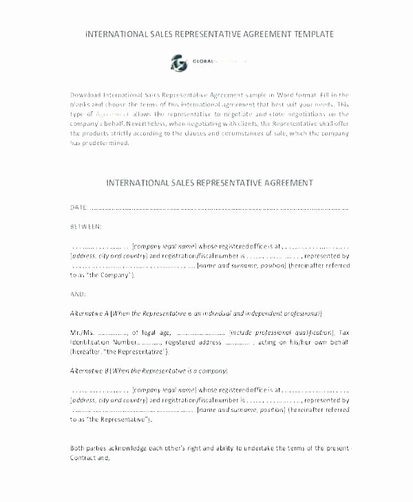 Employee Sales Commission Agreement Template Beautiful Sales Representative Contract Template