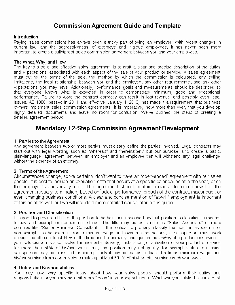 Employee Sales Commission Agreement Template Fresh Free Sales Mission Agreement