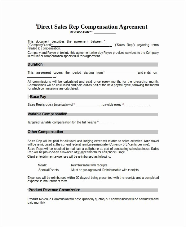 Employee Sales Commission Agreement Template Lovely Pensation Plan Template 8 Free Word Document