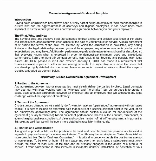 Employee Sales Commission Agreement Template Luxury Employee Sales Mission Agreement Template Mission