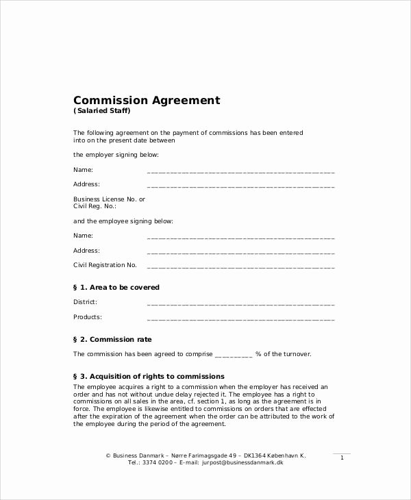 Employee Sales Commission Agreement Template New 9 Sample Business Sales Agreements