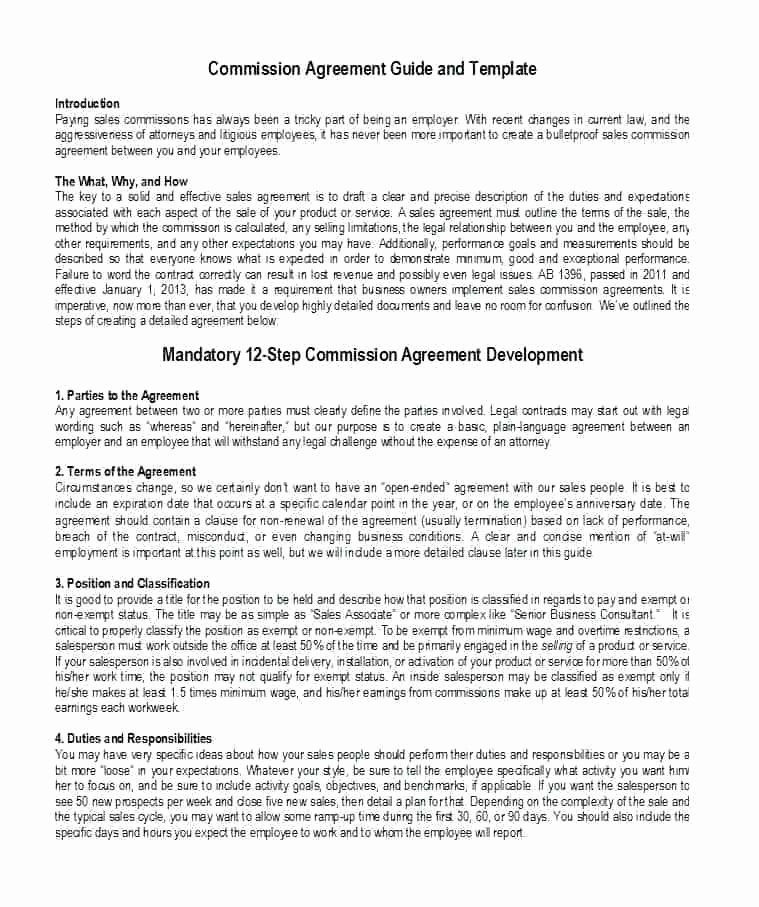 Employee Sales Commission Agreement Template Unique Mission Based Contract Template Agreement Sales