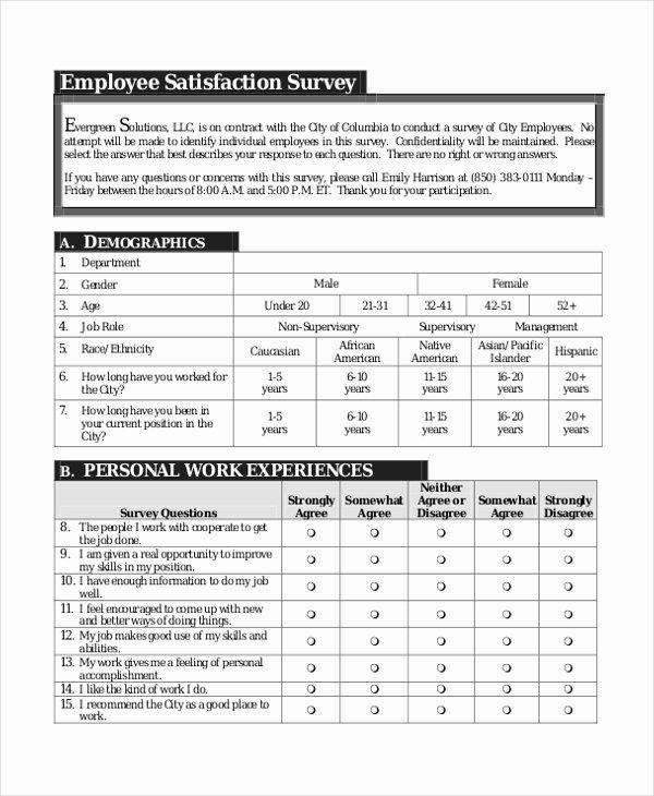 Employee Satisfaction Survey Template Elegant Sample Employee Satisfaction Survey form 9 Free