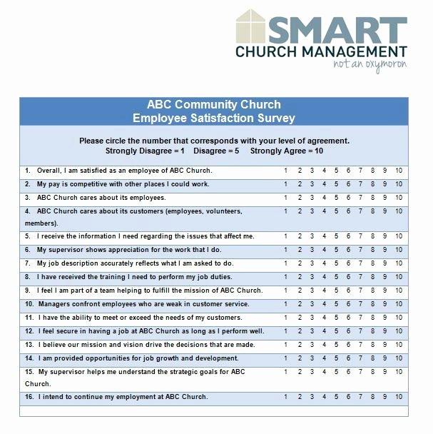 Employee Satisfaction Survey Template Fresh Employee Satisfaction Survey Questions