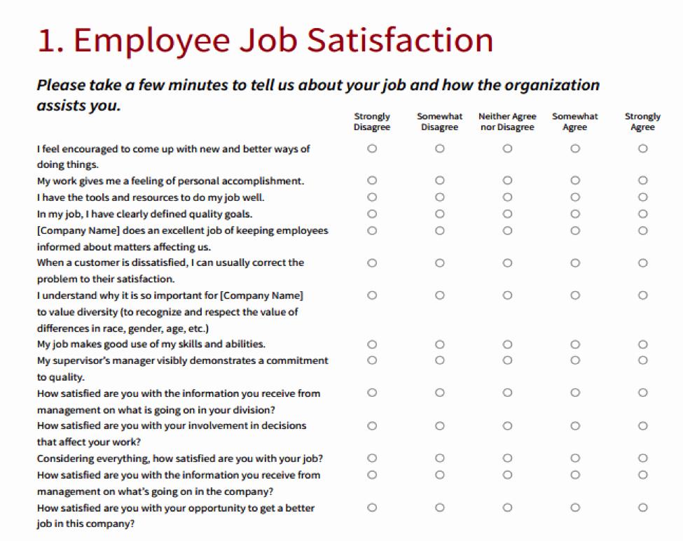 Employee Satisfaction Survey Template Inspirational Employee Satisfaction Survey Template