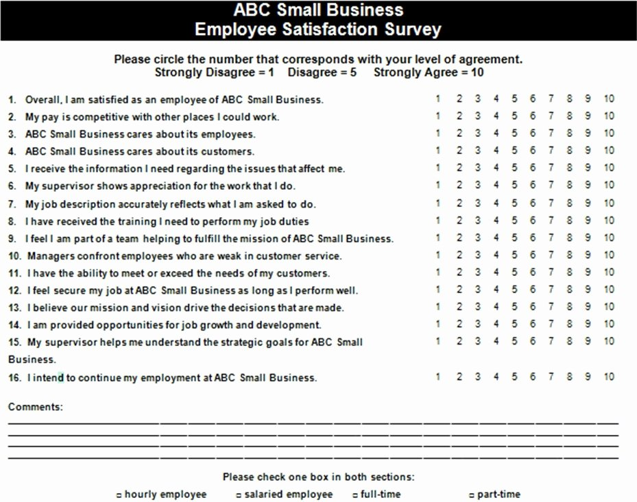 Employee Satisfaction Survey Template Lovely Employee Satisfaction Survey Example — the Thriving Small