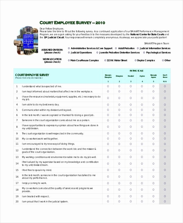 Employee Satisfaction Survey Template New Sample Employee Satisfaction Survey form 9 Free