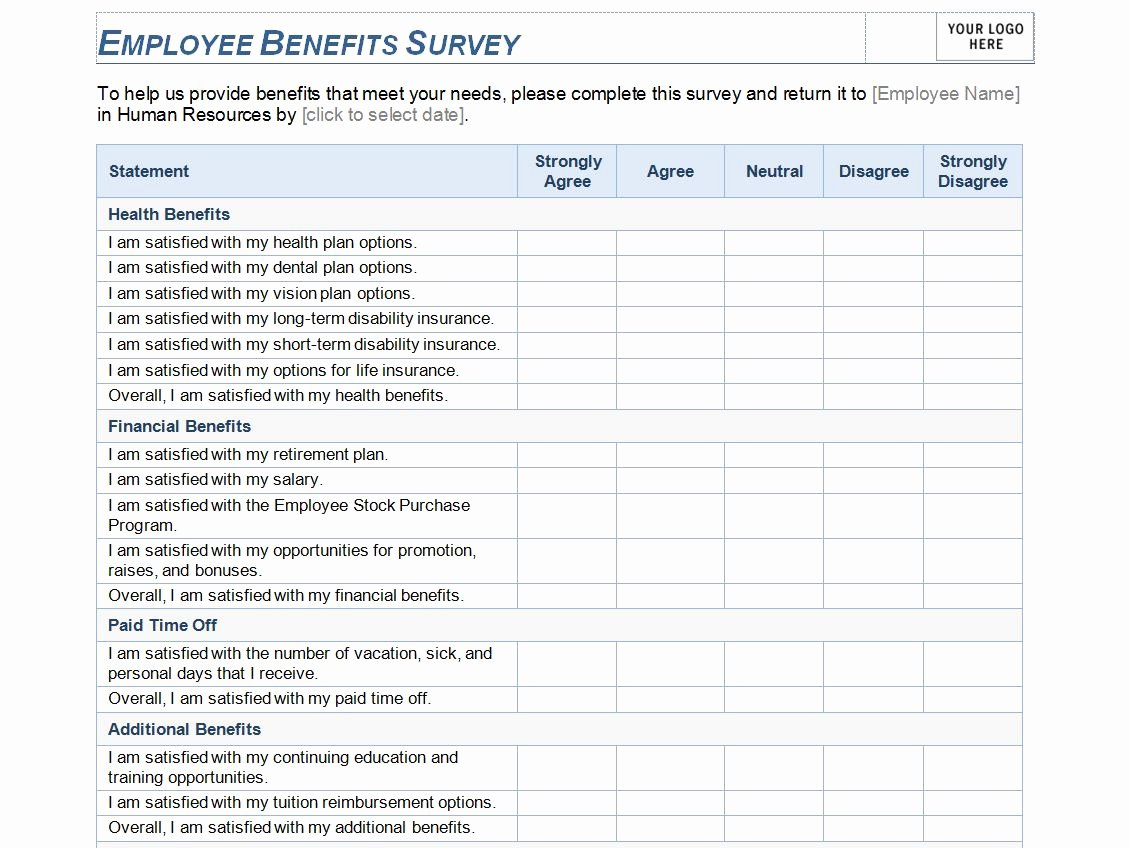 Employee Satisfaction Survey Template Word Fresh Employee Benefits Survey Template