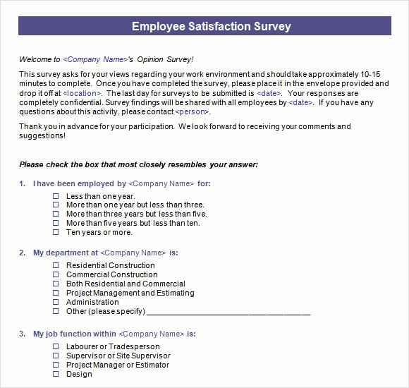 Employee Satisfaction Survey Template Word New Employee Satisfaction Survey 16 Download Free Documents