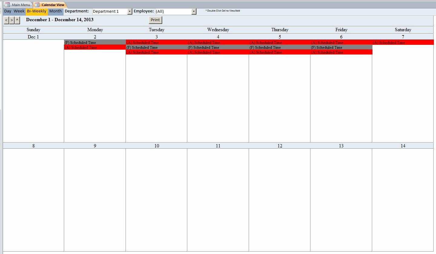 Employee Schedule Calendar Template Beautiful Microsoft Access Employee Scheduling Database Template