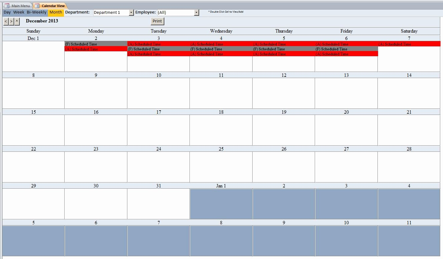 Employee Schedule Calendar Template Elegant Employee Scheduling Database Template