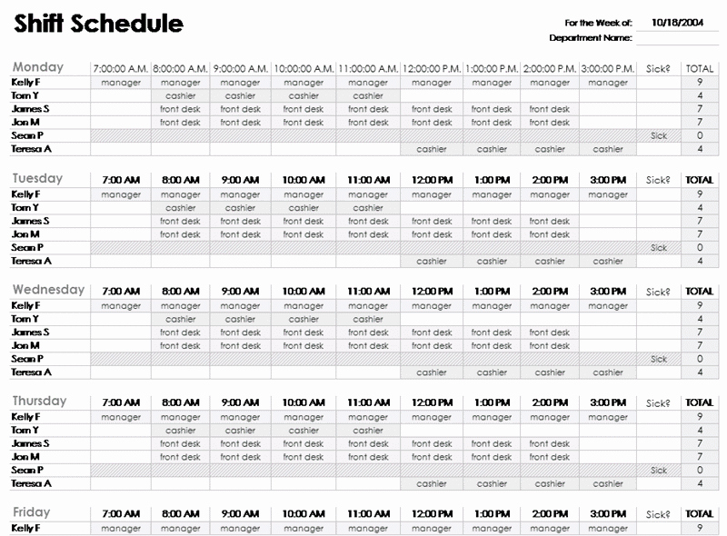 Employee Schedule Calendar Template Fresh Excel Employee Schedule Template Employee