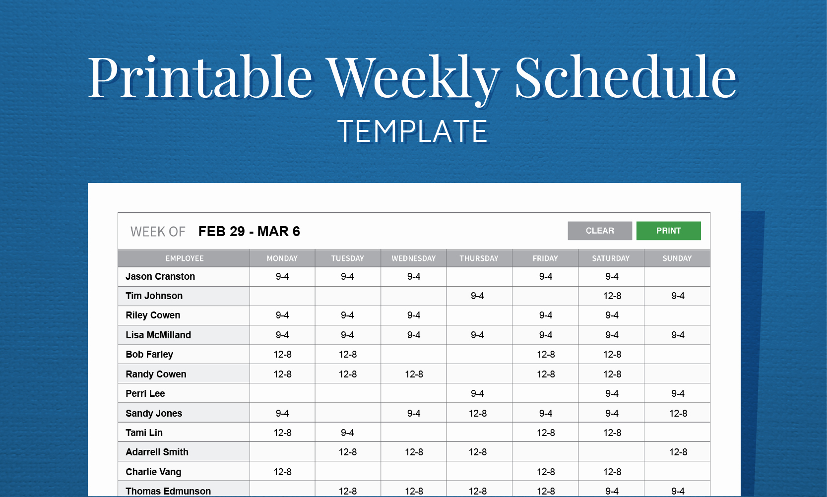Employee Schedule Template Free Awesome Free Printable Work Schedule Template for Employee