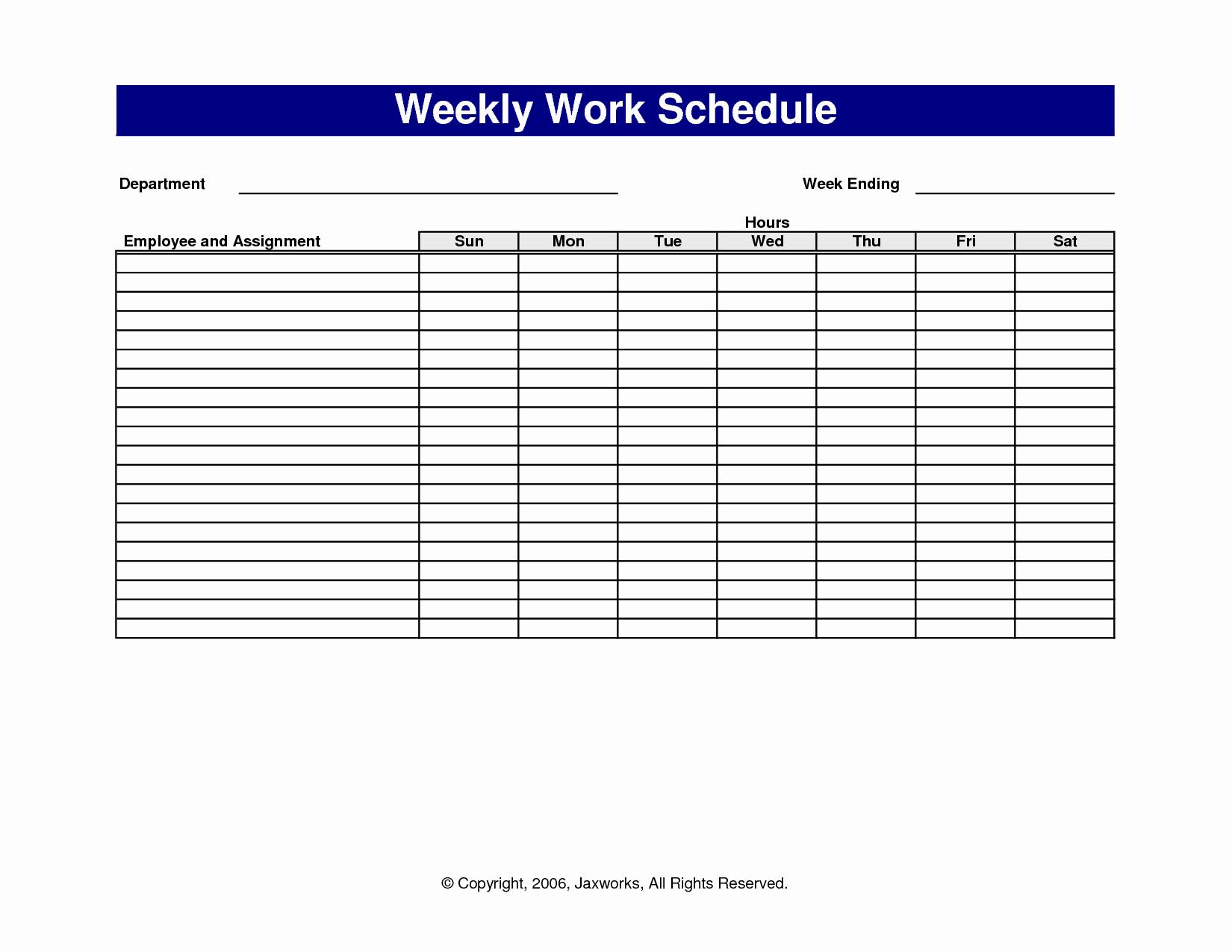Employee Schedule Template Free Best Of 18 Blank Weekly Employee Schedule Template Blank