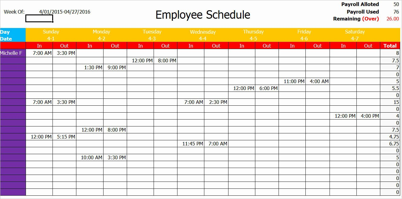 Employee Schedule Template Word Best Of 77 Work Schedule Templates Free Word Excel Pdf formats
