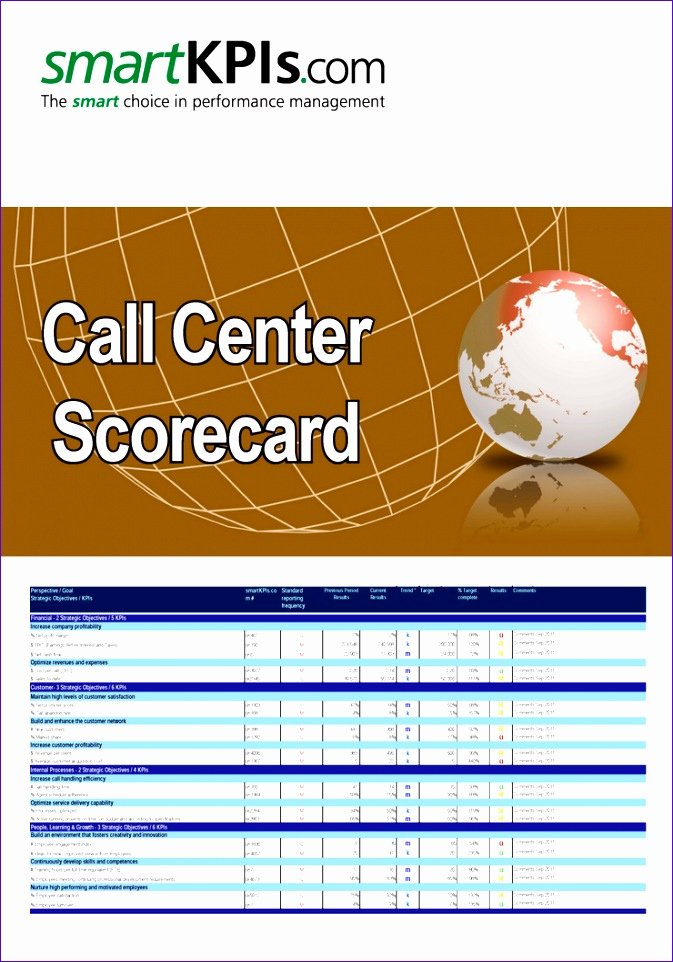 Employee Scorecard Template Excel Inspirational Call Center Scorecard Template Employee Review Template