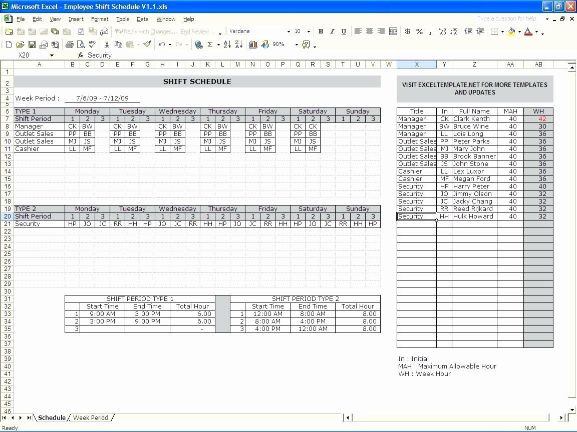 Employee Shift Schedule Template Excel Beautiful Template Excel Monthly Employee Schedule Template