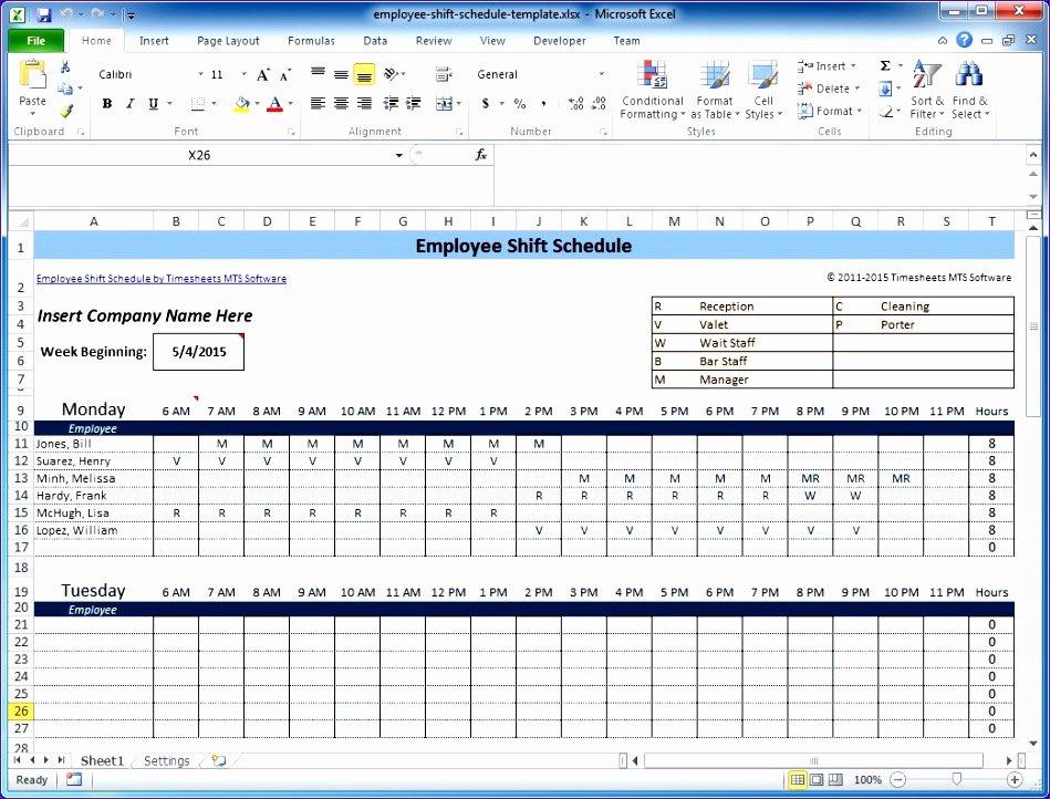 Employee Shift Schedule Template Excel Fresh 6 Excel Templates for Scheduling Employees