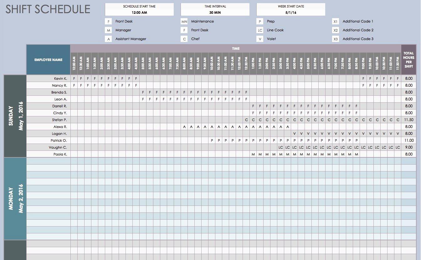 Employee Shift Schedule Template Excel Inspirational Free Daily Schedule Templates for Excel Smartsheet