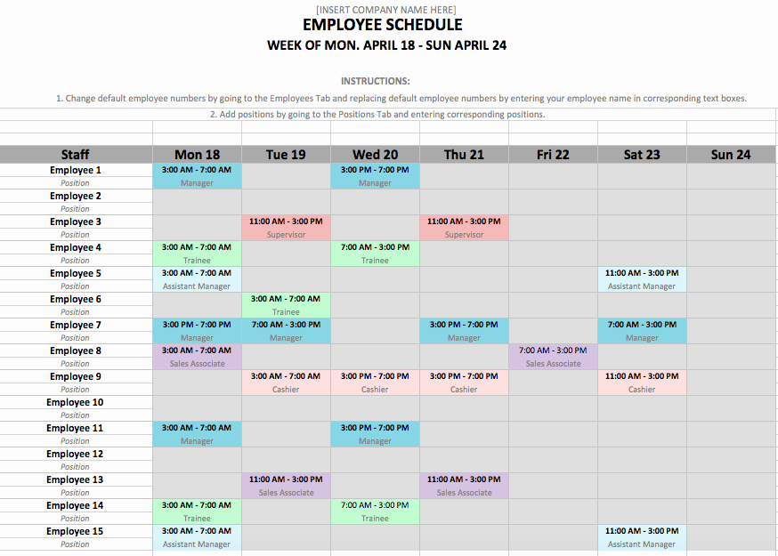 Employee Shift Schedule Template Excel New Shift Schedule Template 24 7
