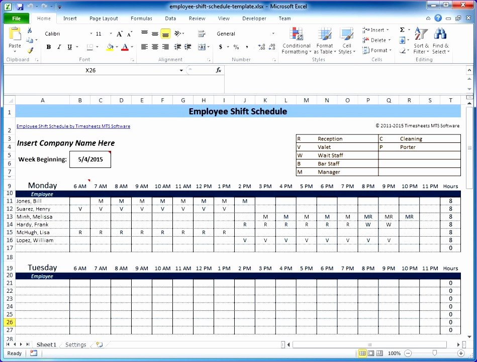 Employee Shift Scheduling Template Awesome 6 Excel Templates for Scheduling Employees