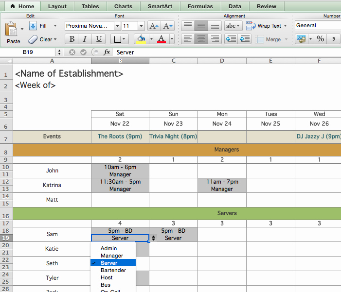 Employee Shift Scheduling Template Awesome Restaurant Employee Scheduling Template for Excel