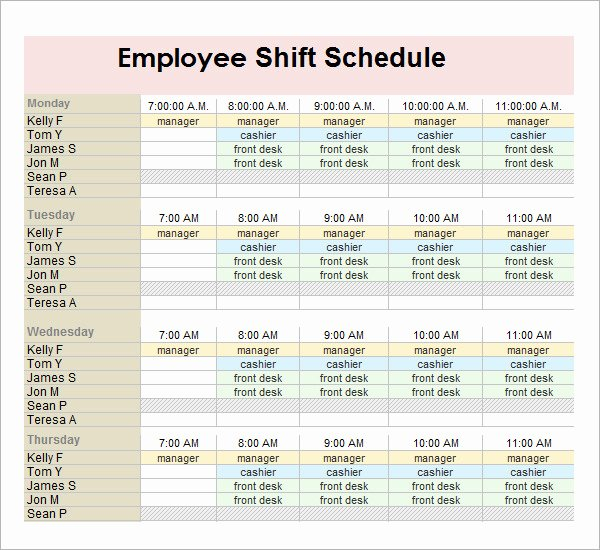 Employee Shift Scheduling Template Fresh 13 Employee Schedule Samples