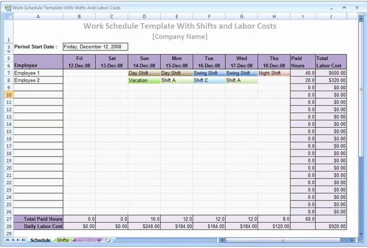 Employee Shift Scheduling Template Luxury Production Schedule Template