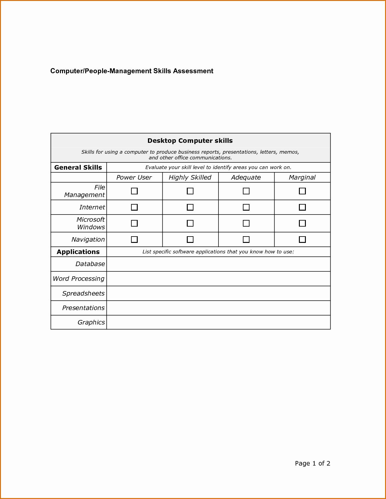 8 skills assessment template