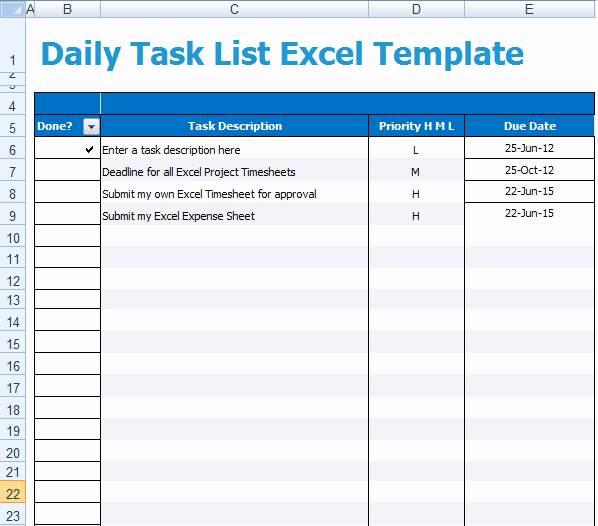 Employee Task List Template New Daily Task List Excel Template Xls