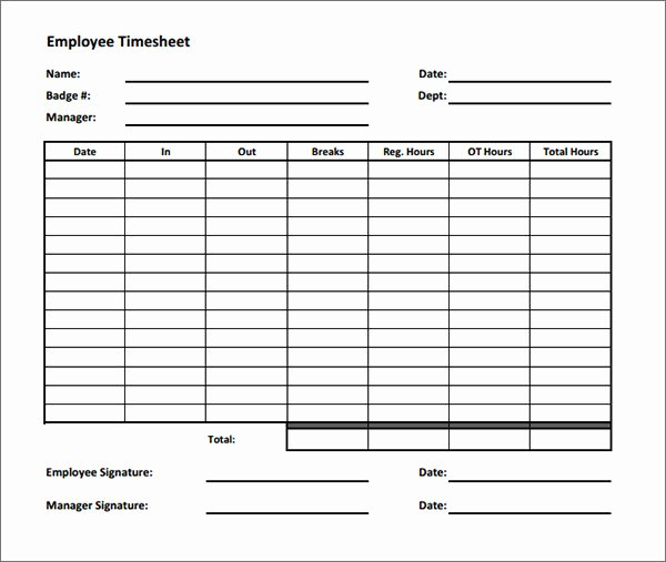 Employee Time Card Template Best Of 17 Timesheet Calculator Templates to Download for Free