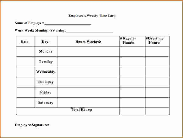 Employee Time Card Template Elegant 5 Employee Time Card