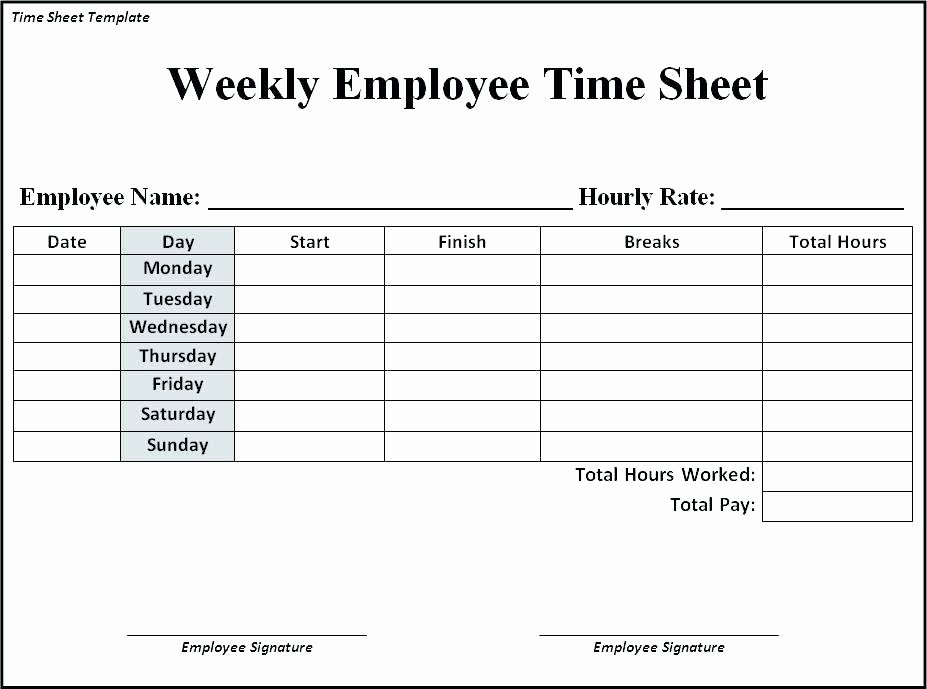 Employee Time Card Template Fresh Google Docs Template Employee Weekly Time Sheet Card