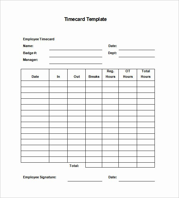 Employee Time Card Template Lovely 7 Printable Time Card Templates Doc Excel Pdf