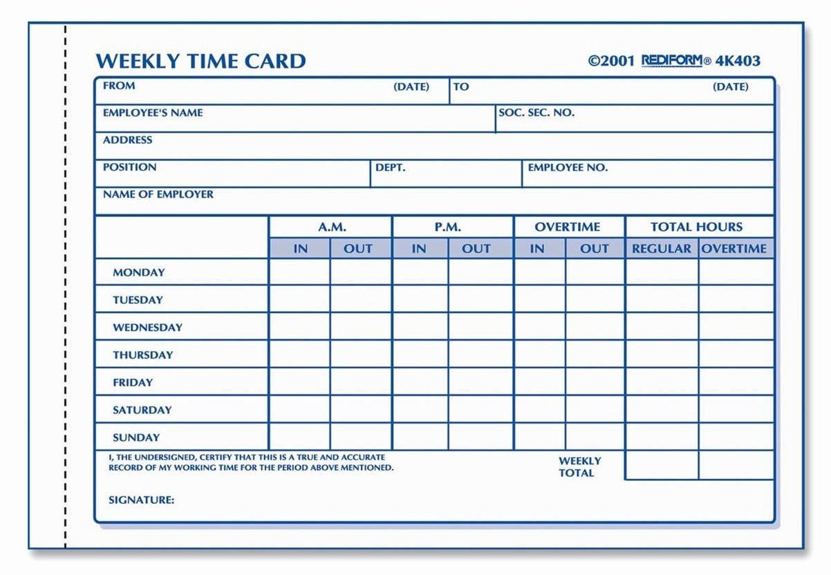 Employee Time Card Template Luxury 6 Employee Time Card Templates – Word Templates