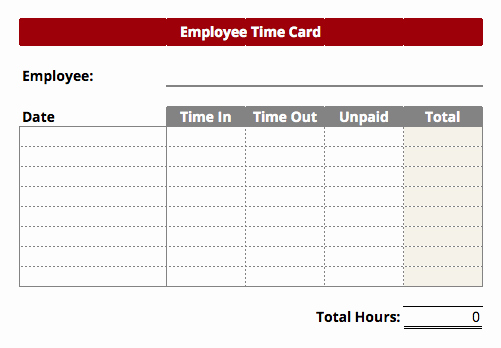 Employee Time Card Template New 6 Employee Time Card Templates – Word Templates