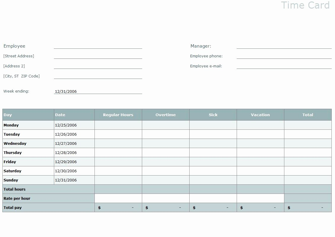 Employee Time Card Template New Timesheet Template