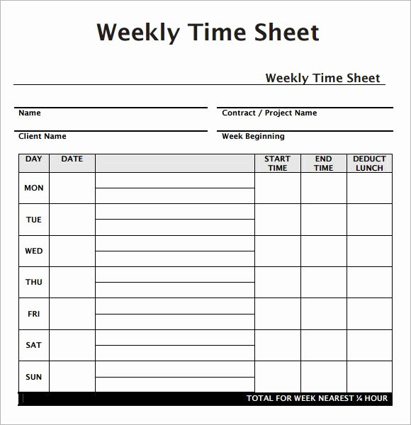 Employee Time Card Template Unique Weekly Employee Timesheet Template Work