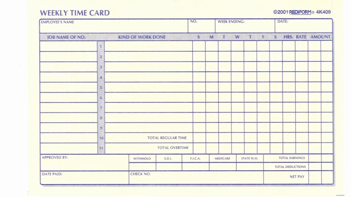 Employee Time Cards Template Best Of Time Card Template