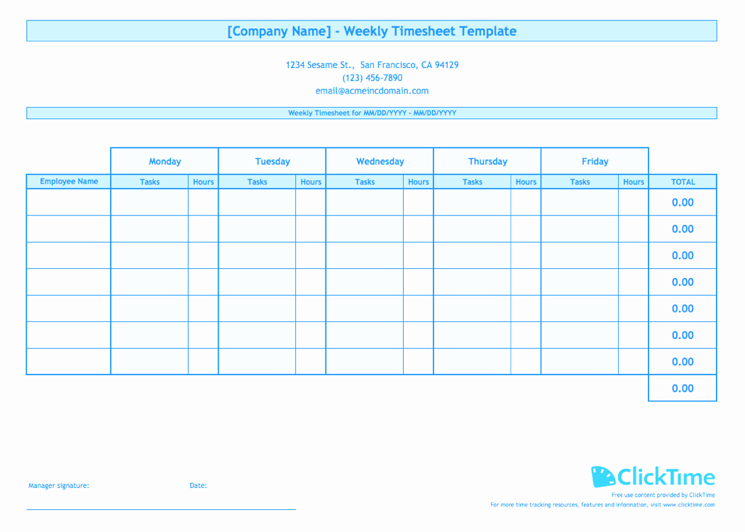 Employee Time Cards Template Elegant Weekly Timesheet Template for Multiple Employees